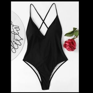 Black Tie back fuller bust one piece swimsuit